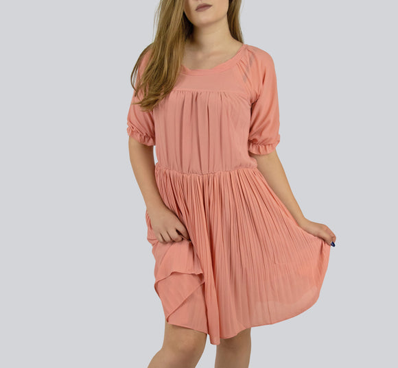SAUDO01419 Moonyear Pleated Peach Dress