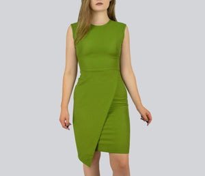 SAUDO01419 Crepe Overlap Sheath Dress by Smart Marché