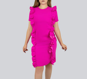 SAUDO01419 Shift dress with front and back frills by Smart Marché