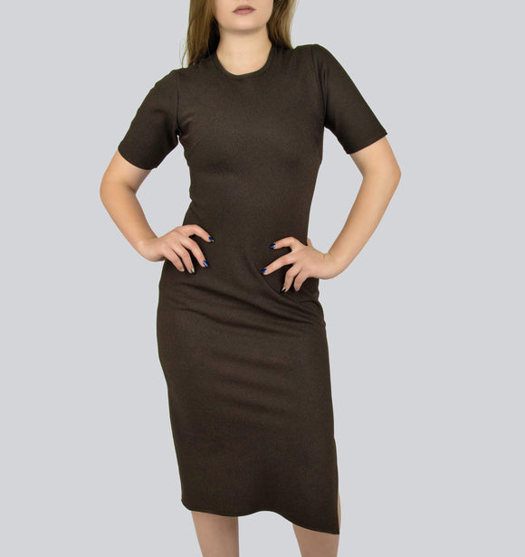 Brown Dress with Side Slit By Smart Marché