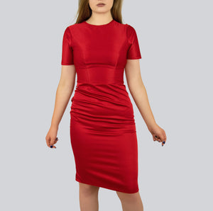 SAUDO01419 Chili Red fitted dress with black zipper / red dress