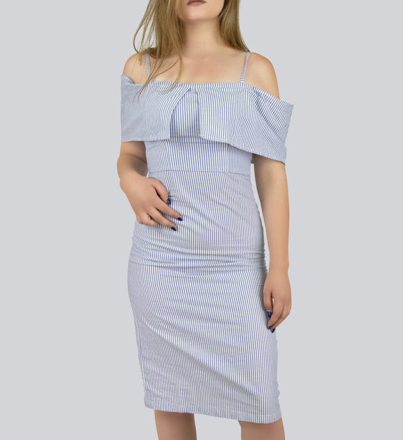 White and Blue Off-the-shoulder Vertical stripes dress with tiny straps