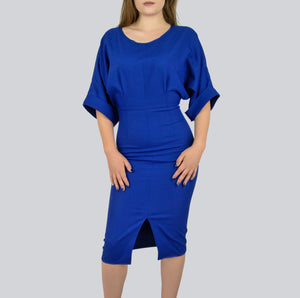 SAUDO01419 Royal Blue fitted dress with front slit