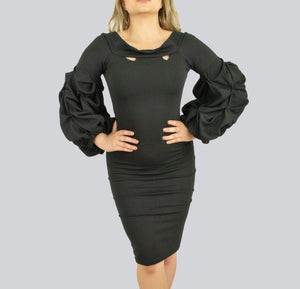 SAUDO01419 Black dress with Puff exaggerated sleeves by Smart Marché