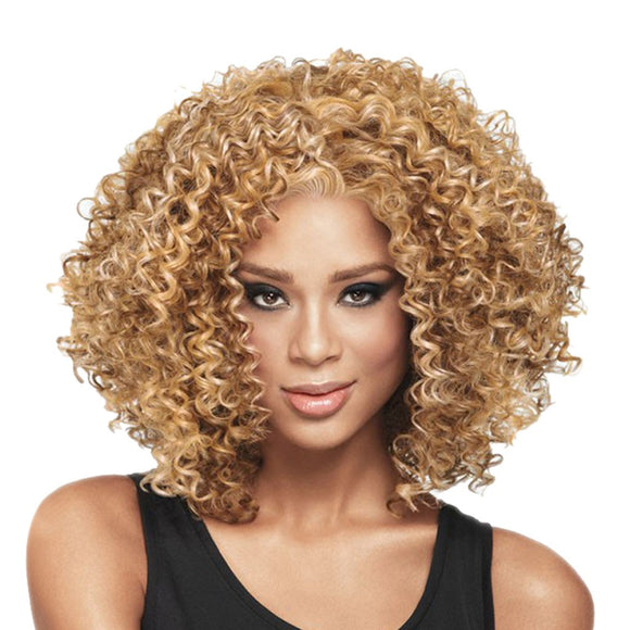 Fashion Rose Hair Net Full Curly Wig Bob Wave Hair Black Women Synthetic Wigs