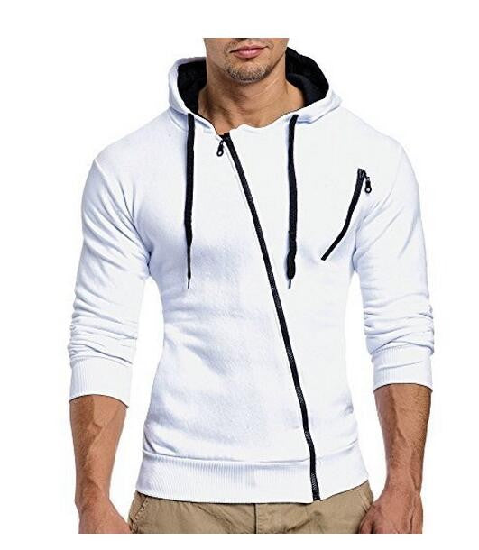 Men Masculino Hoodies,Diagonal zipper men's slim hooded cardigan sweater