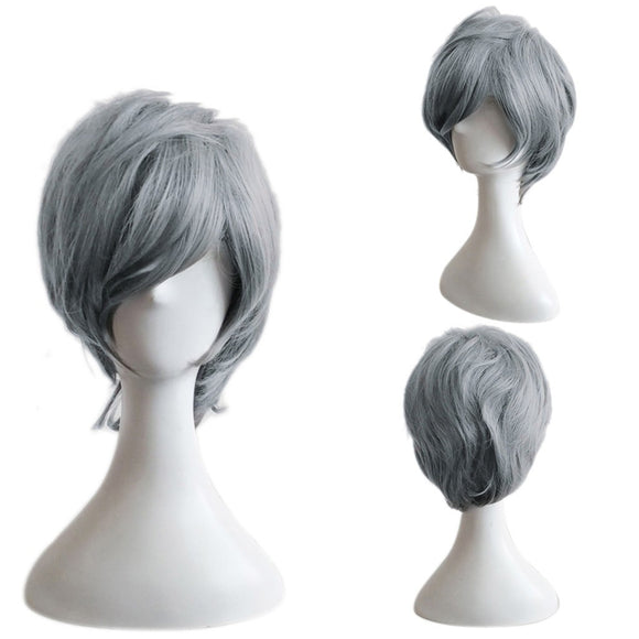 Men Fashion Grey Short Hair Wig Perfect For Carnivals Party Cosplay Festival