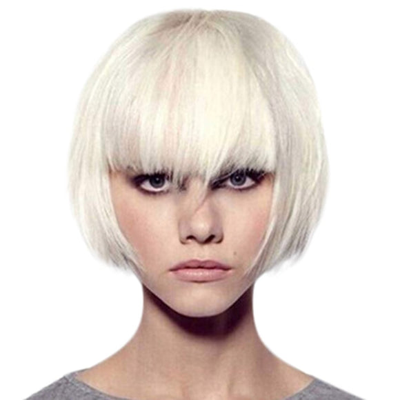 SAUJO01 BESSKY TECHNOLOGY Girls Fashion Short White Cool Wig Women Handsome Realistic Short Hair Wig