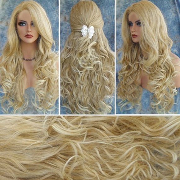 SAUALA01 Bessky Technology Fashion Gold Long Curly Hair Wig Synthetic Water Wave Long Hair Wigs