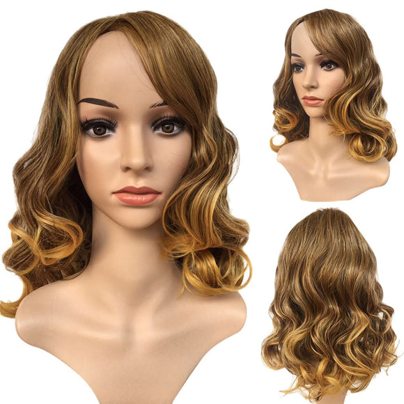SAUALA01 Bessky Technology Fashion Synthetic Short Cruly Glod Hair Wig Natural Hair Full Wigs For Women