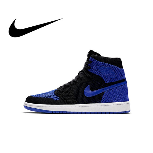 Original Authentic Nike Air Jordan 1 Retro Hi Flyknit AJ1 Men's Basketball Shoes Sport Outdoor Sneakers Athletic 919704-006