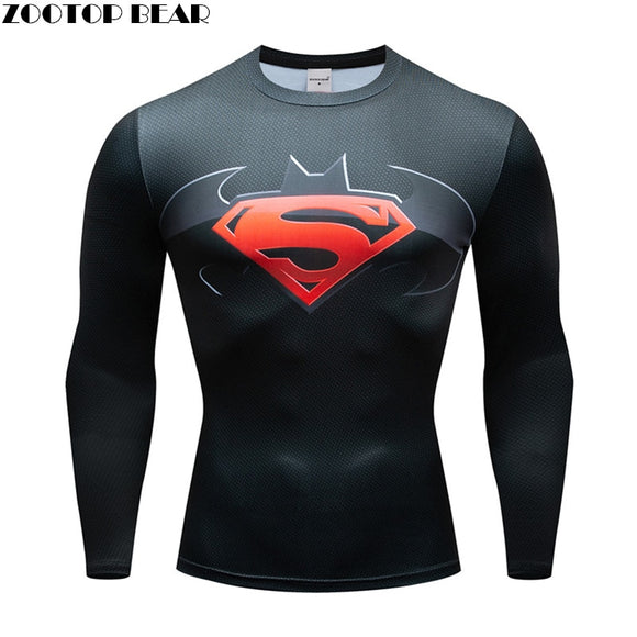 Superman T shirts Men Compression Long Sleeve T-shirts Fitness Man T-shirts Bodybuilding Top Hot Sale Crossfit Cosplay Brand