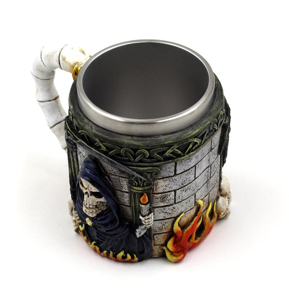 <SHIP FROM US > Creative 3D Skull Death Mug Skeleton Mage Cup Stainless Steel 400-500ml Coffee Tea Cup Beer Mug Bar Cup