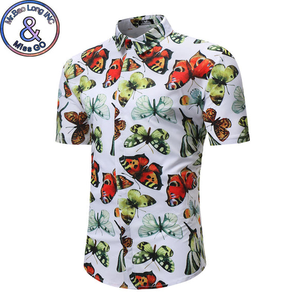 SAUDO01419 3D Butterfly Print Floral Shirt Men 2018 Summer New Slim Short Sleeve Hawaiian Shirt Mens Casual Brand Shirts Camisa Havaiana