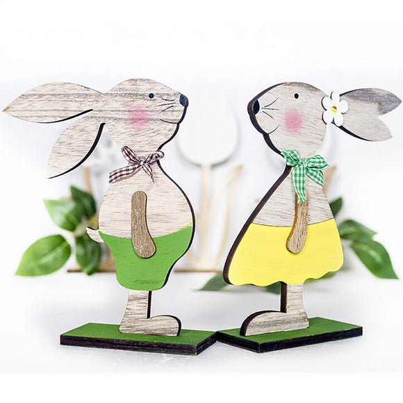 SAUJO01 Decorations Wooden Rabbit Shapes Ornaments Craft  Gifts