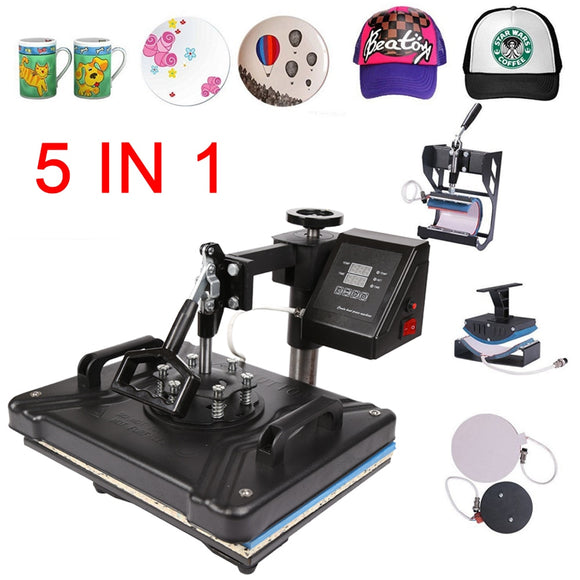 double display 30*38CM 5 in 1 Combo Heat Press Printer Sublimation Machine Heat Press Machine for T-shirts Plates/Cap/Mug/Phone