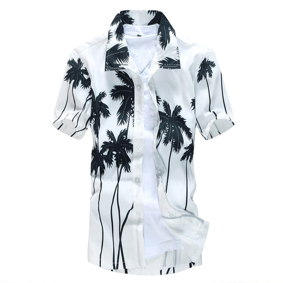 SAUDO01419 Aloha Hawaiian Shirt Men Clothes 2019 Summer Camisa Havaiana Shirts Coconut Tree Printed Short Sleeve Mens Sandy Beach Wear 5XL