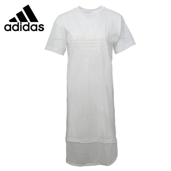 Original New Arrival 2018 Adidas Originals CLRDO TEE DRESS Women's Long T-shirts short sleeve Sportswear