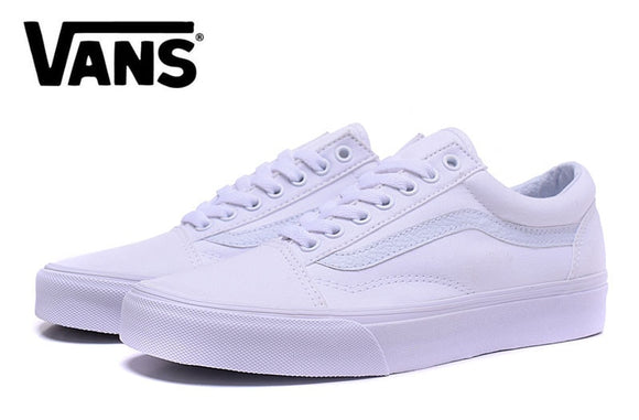 BFree Shipping vans classic old skool all white low to help Men's canvas shoes, Sports Shoes, Vans shoes Weight lifting shoes