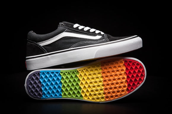 419SAUPHIGE01 Free Shipping VANS classic Old Skool rainbow men's canvas shoes, Sports Shoes, Vans shoes Weight lifting shoes 40-44
