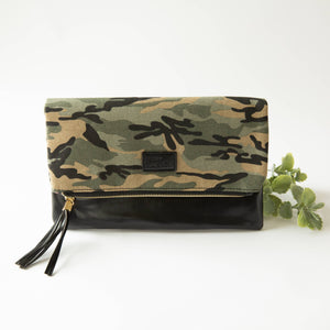 Fold Over Clutch - Muted Camo & Black with Pink Lining