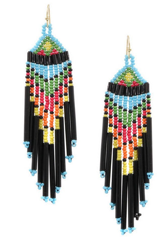 Seed Bead Triangle Drop Earring