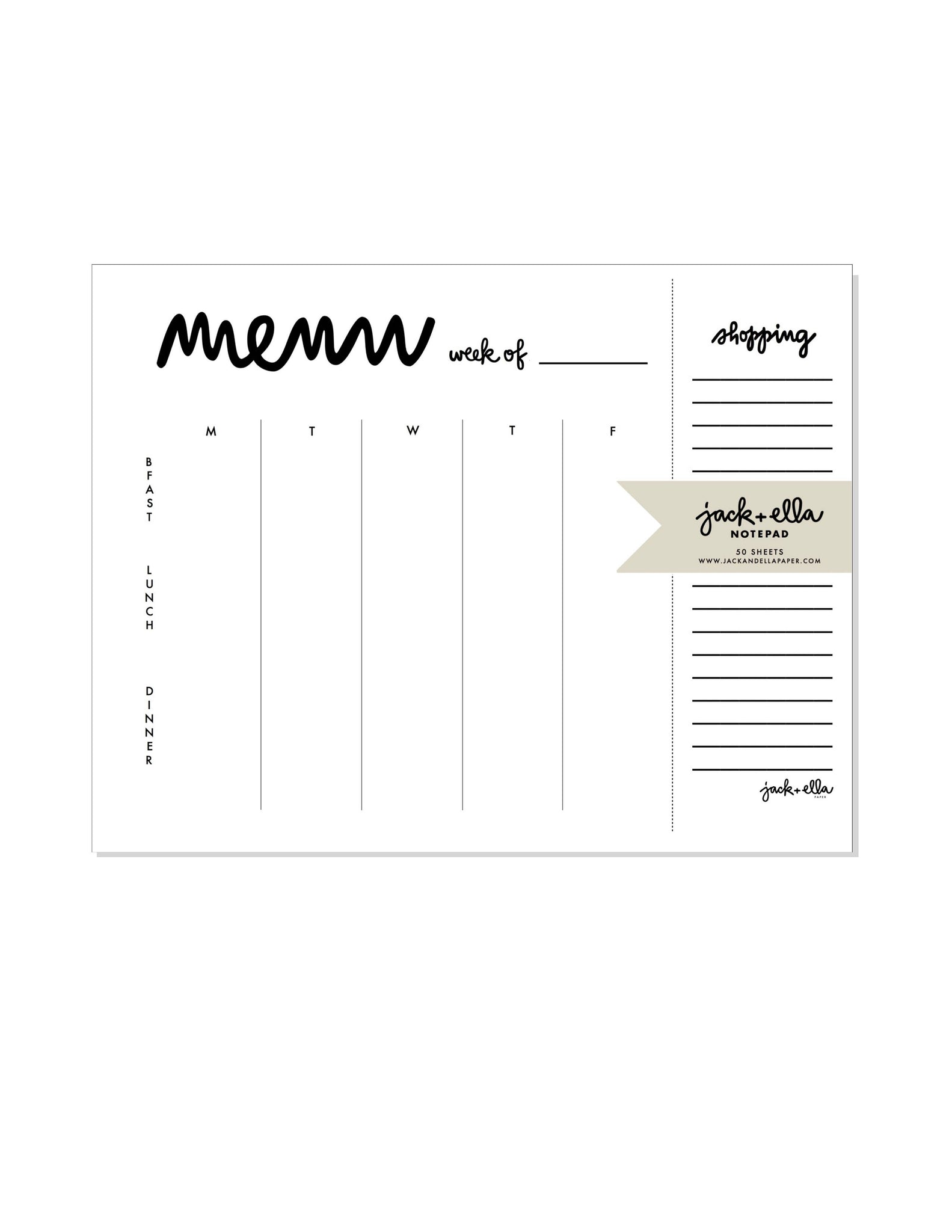 Weekly Menu Plus Tear-Off Market List Notepad