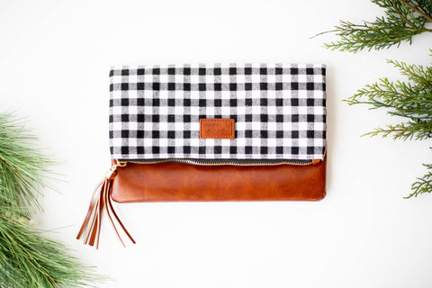 Fold Over Clutch - Black & White Buffalo, Brown Faux Leather