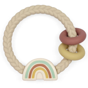 Neutral Rainbow Ritzy Rattle™ Silicone Teether