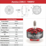 HGLRC Aeolus 2306.5 1900KV 6S  Brushless Motors (5pcs.)