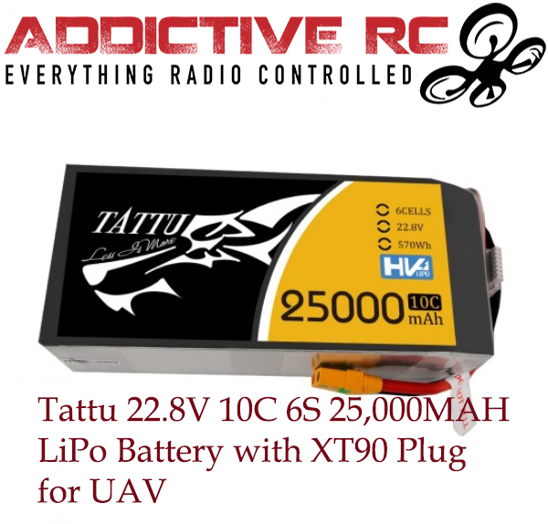 Tattu 22.8V 10C 6S 25000mAh LiPo Battery with XT90 Plug for UAV