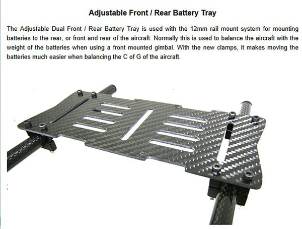 VULCAN Adjustable Rail Mounted Battery Tray for 12mm Rails