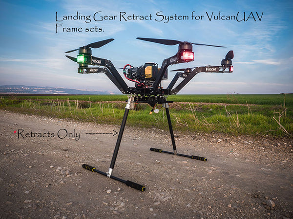 Landing gear retract system for VulcanUAV frame sets