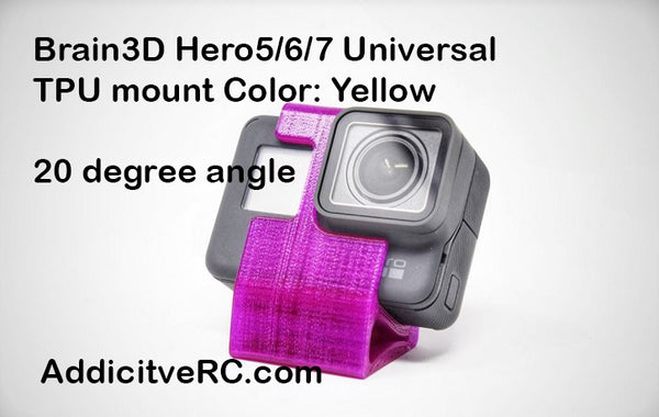 Brain3D Hero 5/6/7 Universal TPU mount Yellow 20 degrees angle