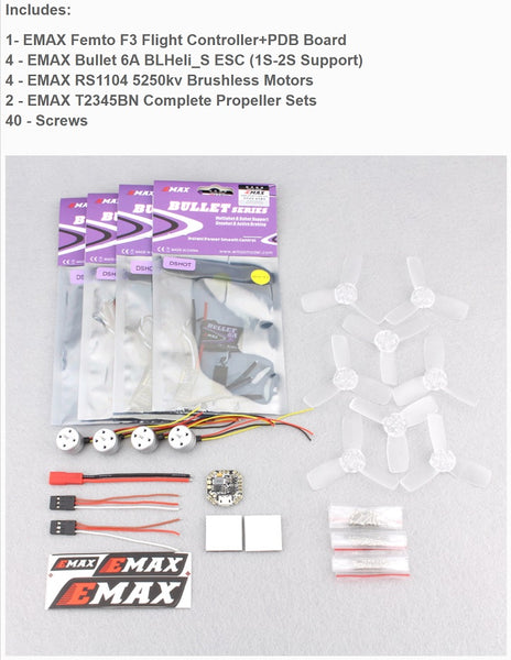 EMAX 1104 Micro Brushless Power System Combo 1(Motor+Prop set+FC+ESC)