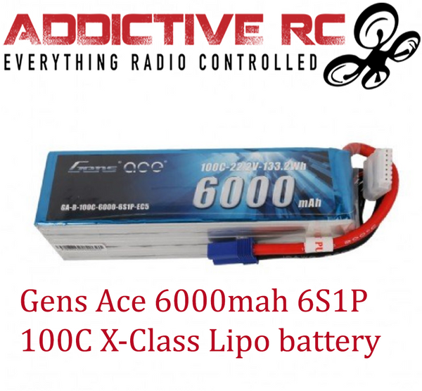 Gens ace 6000mAh 22.2V 100C 6S1P Lipo Battery Pack with EC5 Plug