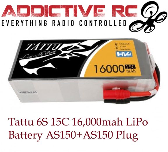 Tattu 22.8V 15C 6S 16000mAh LiPo Battery with AS150+AS150 Plug for UAV