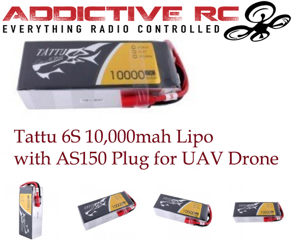 Tattu 22.2V 25C 6S 10000mAh Lipo Battery Pack with AS150 Plug for UAV Drone