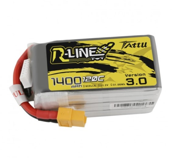Tattu R-Line Version 3.0 1400mAh 22.2V 120C 6S1P Lipo Battery Pack with XT60 Plug