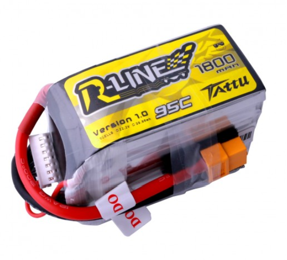 Tattu R-Line 22.2V 1800mah 6S 95C FPV Lipo Battery with XT60 Plug