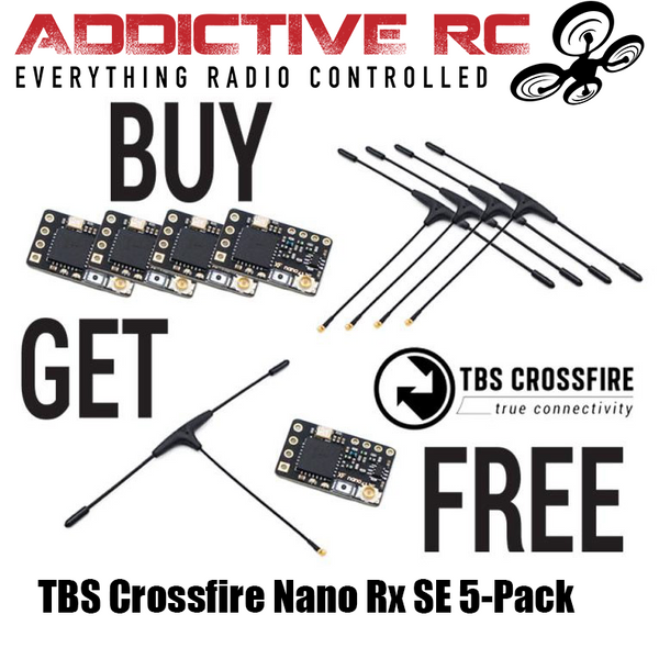 TBS Crossfire Nano RX SE 5-Pack Combo (w/ Immortal T Antenna V2)