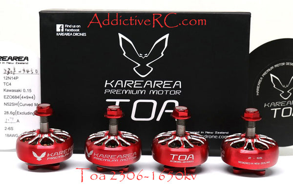 Karearea Premium Brushless motor Toa 2306-1650kv Red set of 4pcs.