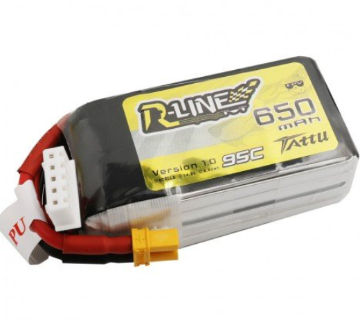 Tattu R-Line 650mAh 14.8V 95C 4S1P Lipo Battery Pack with XT30 Plug