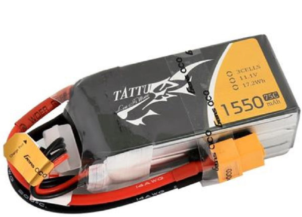 Tattu 1550mAh 11.1V 75C 3S1P Lipo Battery Pack with XT60 Plug