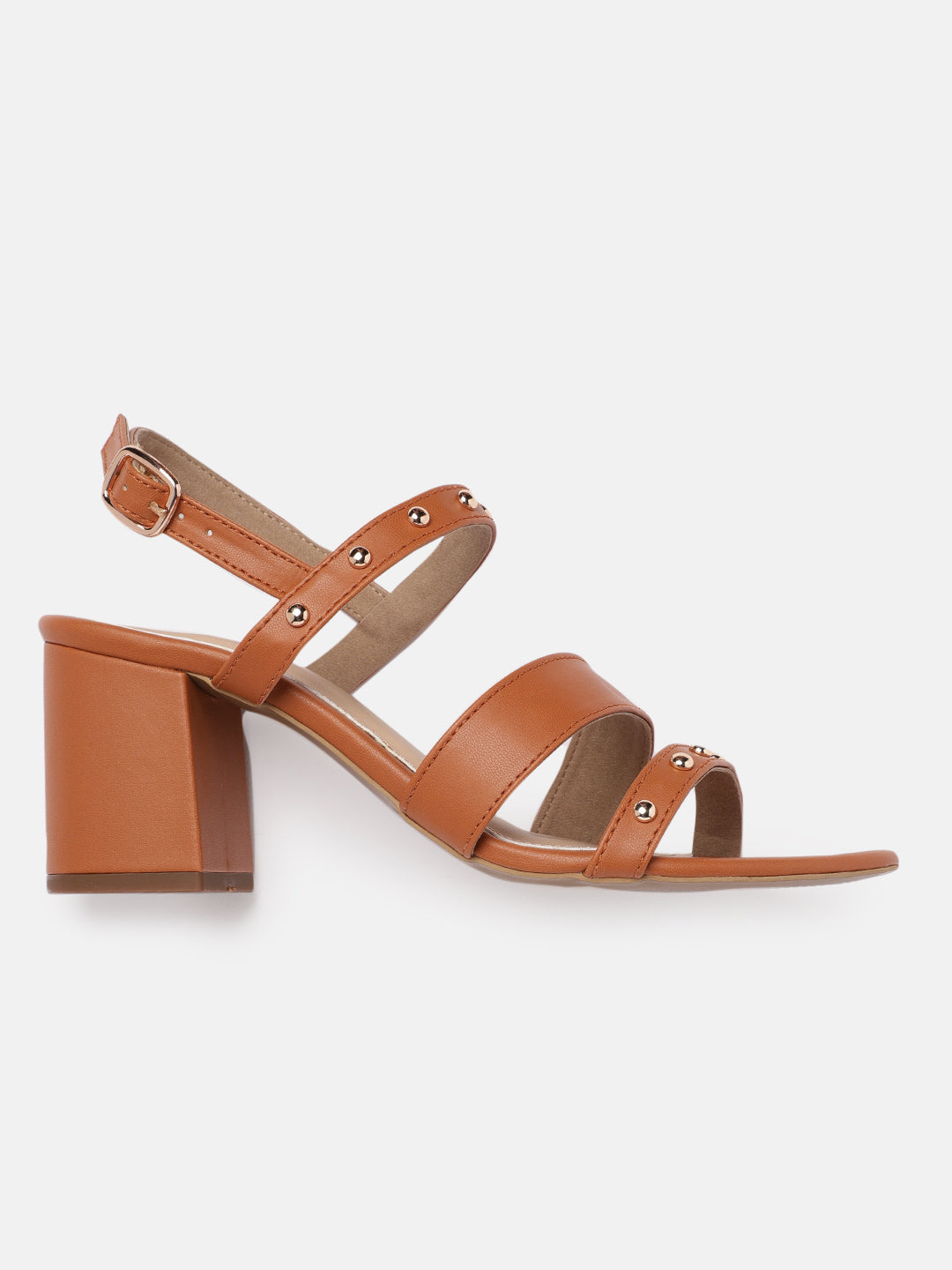 Tan Block Stud Sandals