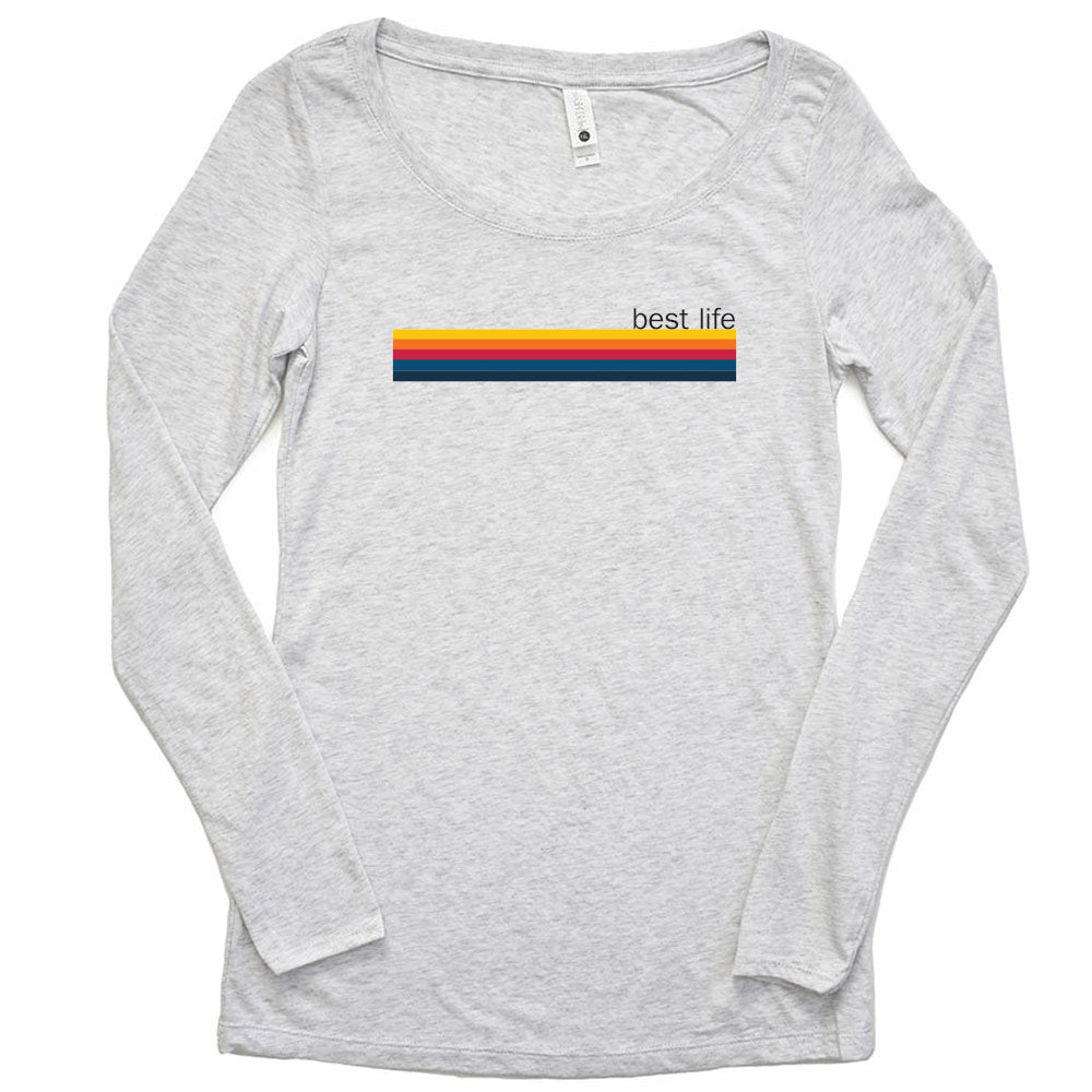 RAINBOW BEST LIFE <br /> women's triblend scoop neck long sleeve tee <br />slim fit