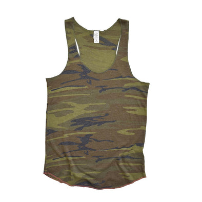 ALTERNATIVE LADIES' MEEGS CAMO RACERBACK TANK (In Stock)<br />slim fit - humanKIND shop with a purpose