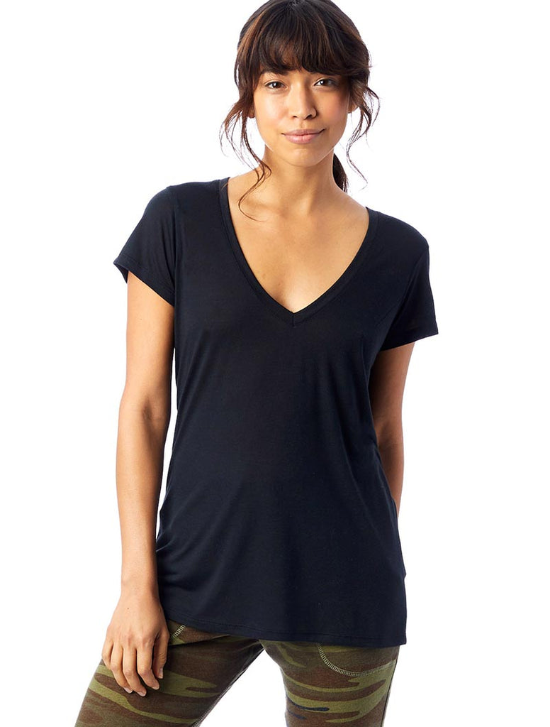 yEAHbestlife  yEAH WHITE RIBBON women's slinky jersey v-neck tee - humanKIND shop with a purpose