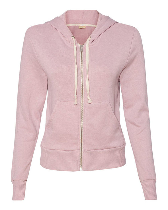ALTERNATIVE LADIES' FRENCH TERRY HOODED FULL ZIP SWEATSHIRT (In Stock)<br /> slim fit - humanKIND shop with a purpose
