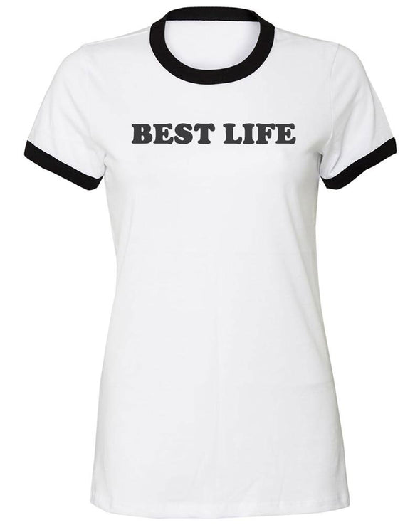 yEAHbestlife  <br />BELLA + CANVAS LADIES SHORT SLEEVE RINGER TEE <BR> slim fit - humanKIND shop with a purpose